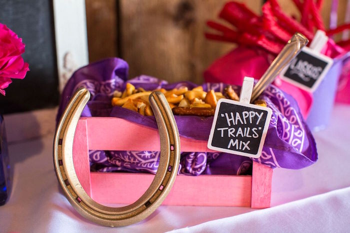 """Happy Trails"" Snack Mix from a Cowgirl Birthday Party Roundup on Kara's Party Ideas 