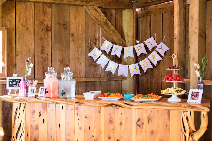 Food and beverage bar from a Cowgirl Birthday Party Roundup on Kara's Party Ideas | KarasPartyIdeas.com (19)