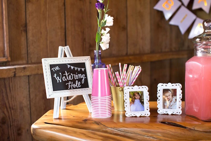 """""""Watering Hole"""" Beverage Table from a Cowgirl Birthday Party Roundup on Kara's Party Ideas 
