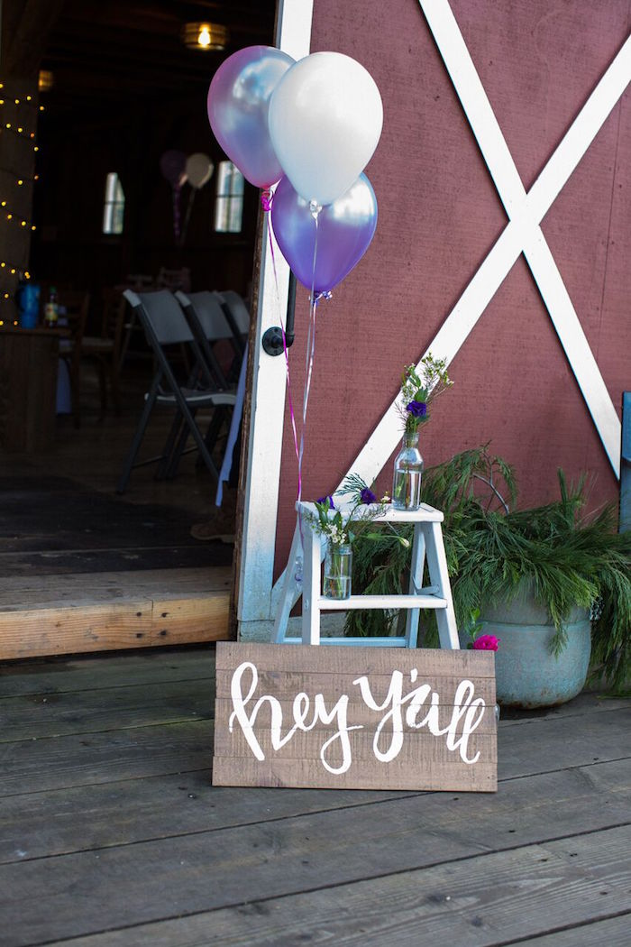 Hey y'all welcome sign from a Cowgirl Birthday Party Roundup on Kara's Party Ideas | KarasPartyIdeas.com (34)