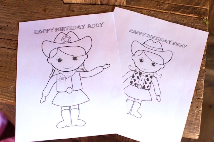 Cowgirl coloring pages from a Cowgirl Birthday Party Roundup on Kara's Party Ideas | KarasPartyIdeas.com (15)