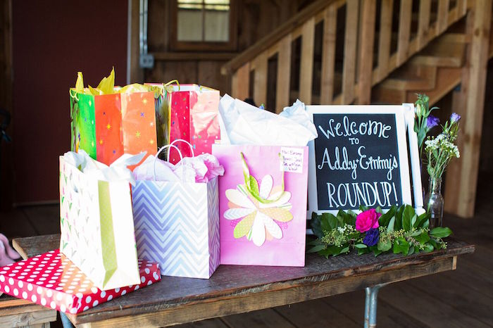 Gift table from a Cowgirl Birthday Party Roundup on Kara's Party Ideas | KarasPartyIdeas.com (14)