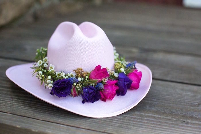 Cowgirl hat with flower bunting from a Cowgirl Birthday Party Roundup on Kara's Party Ideas | KarasPartyIdeas.com (13)