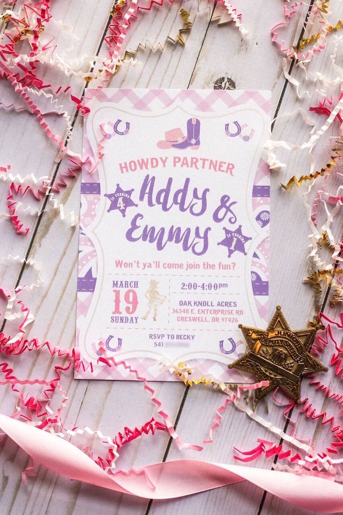 Western invitation from a Cowgirl Birthday Party Roundup on Kara's Party Ideas | KarasPartyIdeas.com (9)