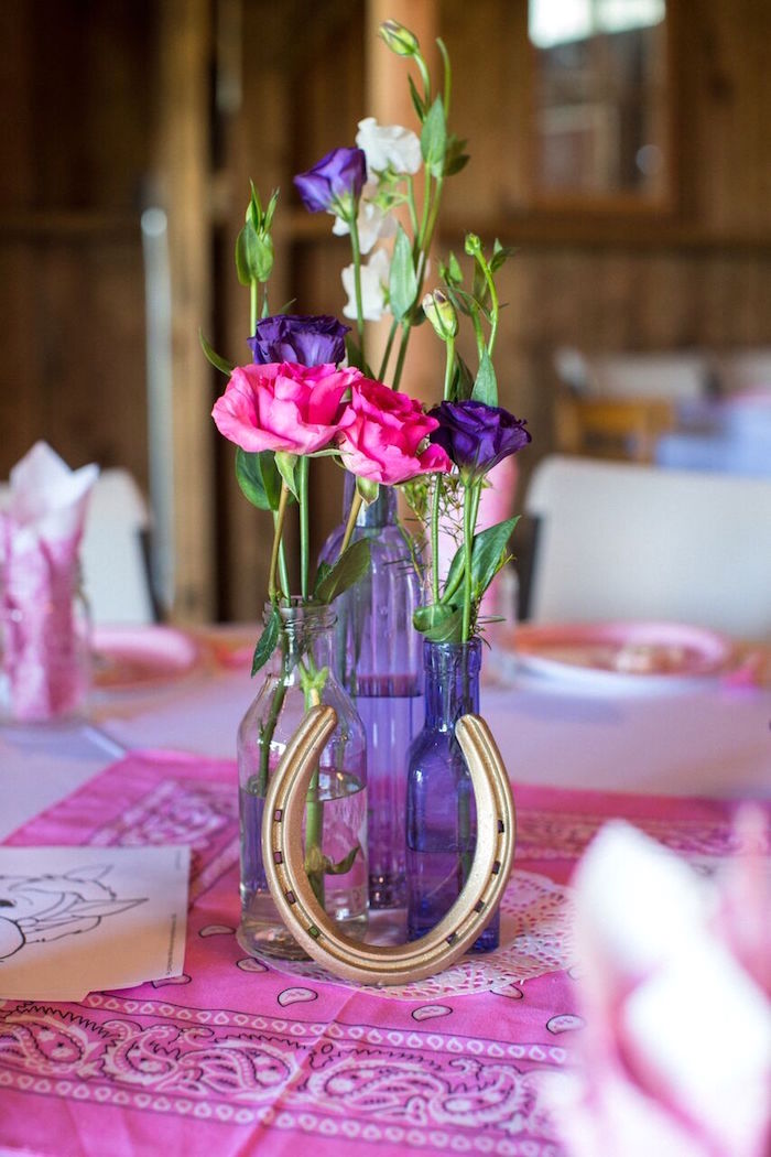Western centerpiece from a Cowgirl Birthday Party Roundup on Kara's Party Ideas | KarasPartyIdeas.com (27)