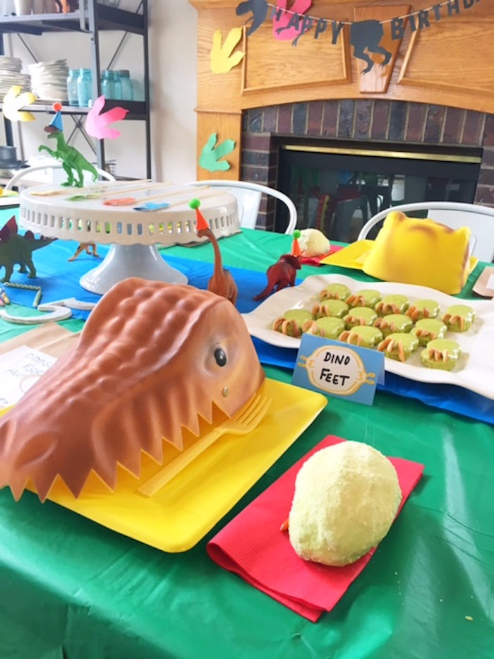 Dinosaur place setting from a DIY Dinosaur Birthday Bash on Kara's Party Ideas | KarasPartyIdeas.com (16)