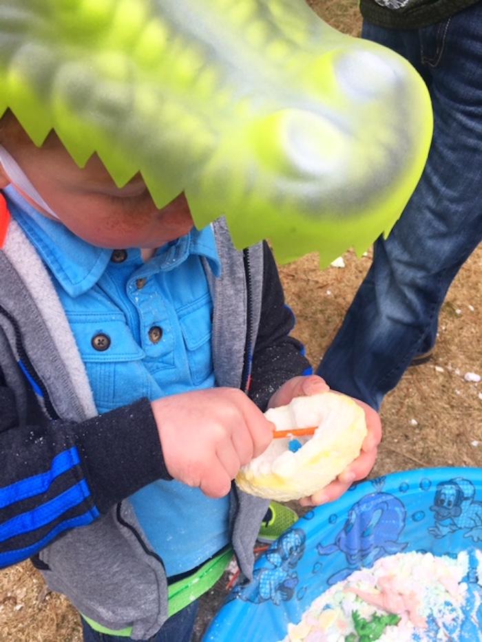 Dino Egg excavating from a DIY Dinosaur Birthday Bash on Kara's Party Ideas | KarasPartyIdeas.com (7)