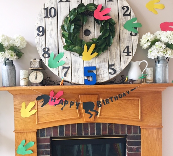 "Dinosaur ""Happy Birthday"" banner from a DIY Dinosaur Birthday Bash on Kara's Party Ideas | KarasPartyIdeas.com (23)"