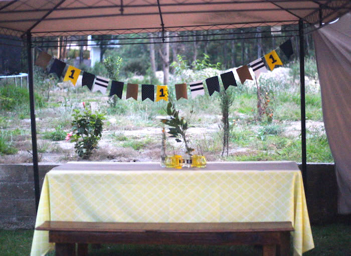 Guest table from a DIY Nautical 1st Birthday Party on Kara's Party Ideas | KarasPartyIdeas.com (8)