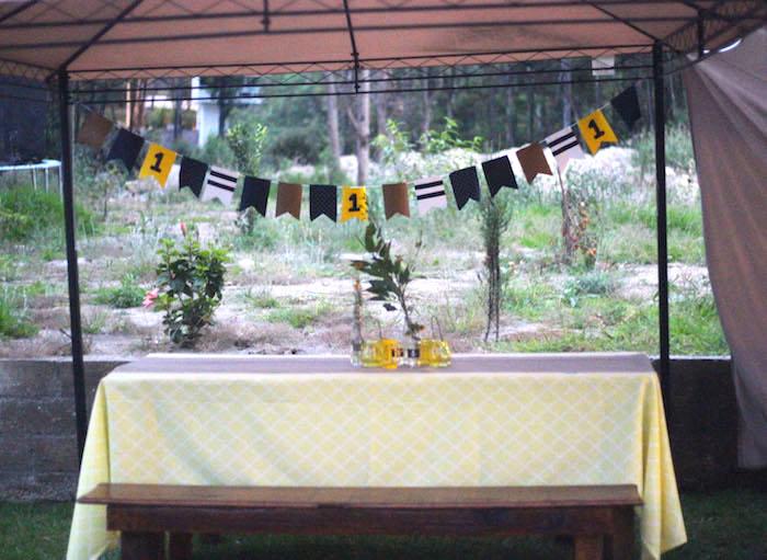 Guest table from a DIY Nautical 1st Birthday Party on Kara's Party Ideas | KarasPartyIdeas.com (8)