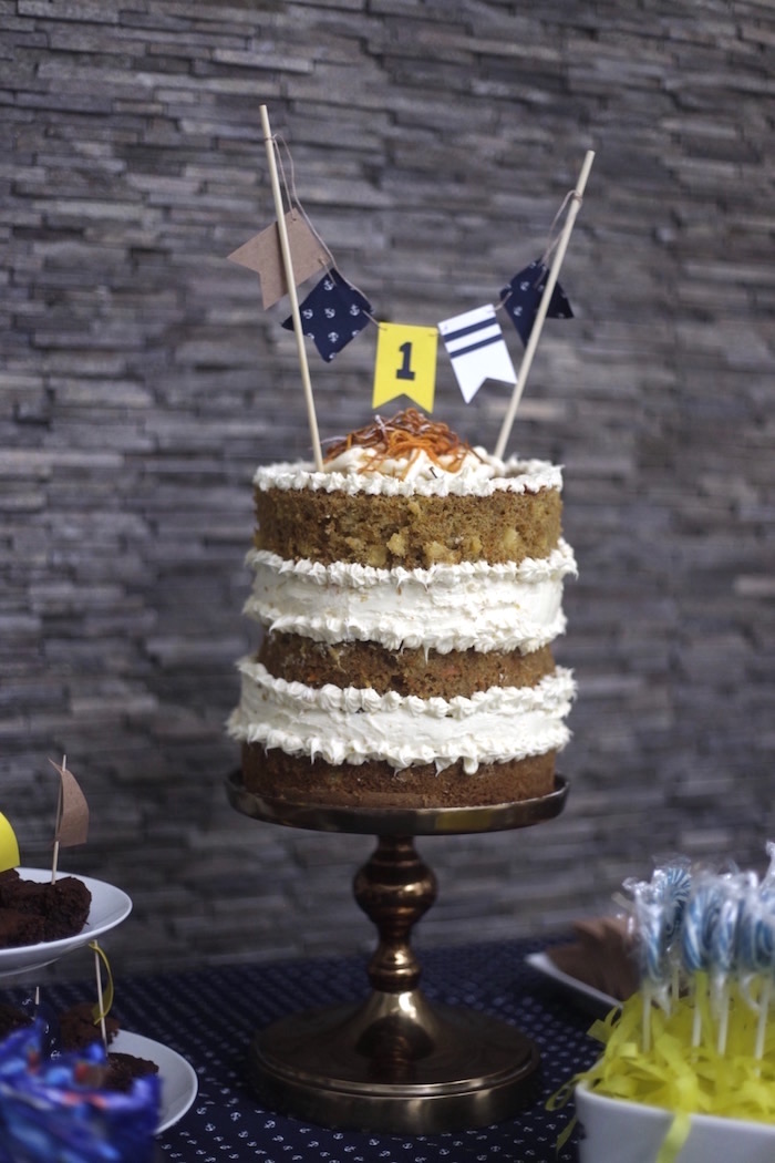 Semi-naked nautical cake from a DIY Nautical 1st Birthday Party on Kara's Party Ideas | KarasPartyIdeas.com (7)