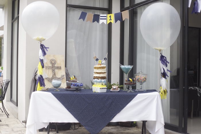 Nautical dessert table from a DIY Nautical 1st Birthday Party on Kara's Party Ideas | KarasPartyIdeas.com (6)