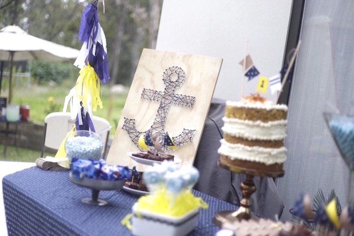 Nautical sweet table from a DIY Nautical 1st Birthday Party on Kara's Party Ideas | KarasPartyIdeas.com (5)