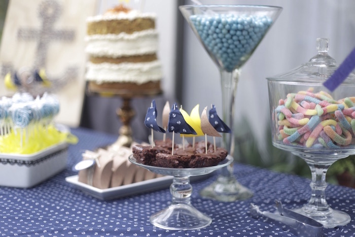 Sail boat brownies from a DIY Nautical 1st Birthday Party on Kara's Party Ideas | KarasPartyIdeas.com (3)