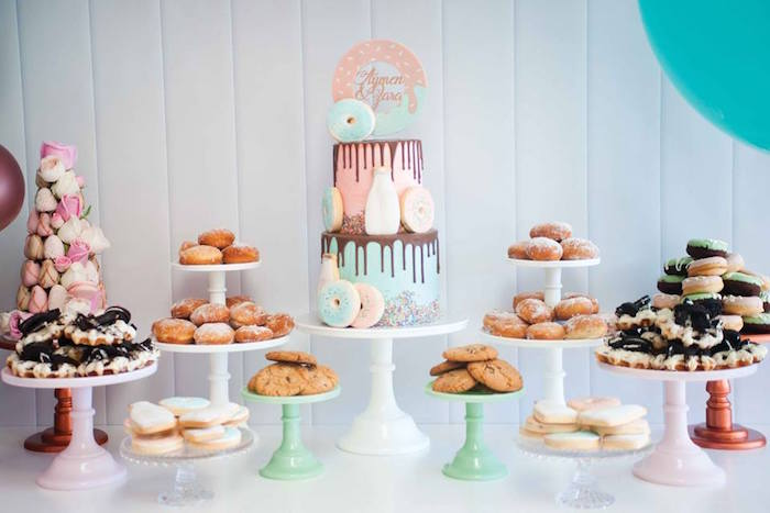 Dessert table from a Donuts, Milk, & Cookies Birthday Party on Kara's Party Ideas | KarasPartyIdeas.com (16)