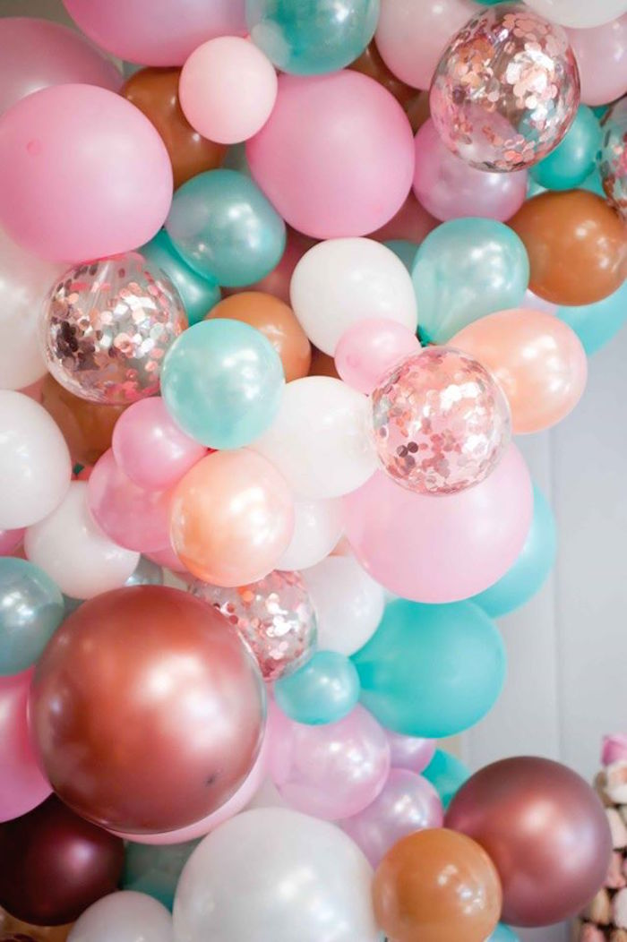 Balloon banner from a Donuts, Milk, & Cookies Birthday Party on Kara's Party Ideas | KarasPartyIdeas.com (13)
