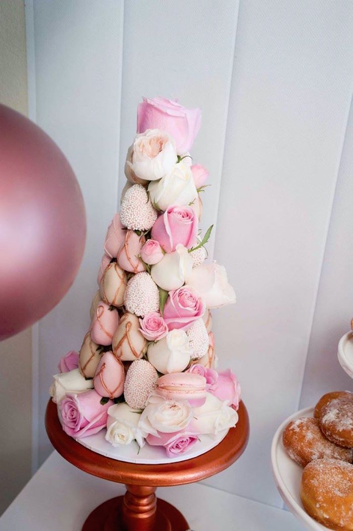 Strawberry tower from a Donuts, Milk, & Cookies Birthday Party on Kara's Party Ideas | KarasPartyIdeas.com (11)