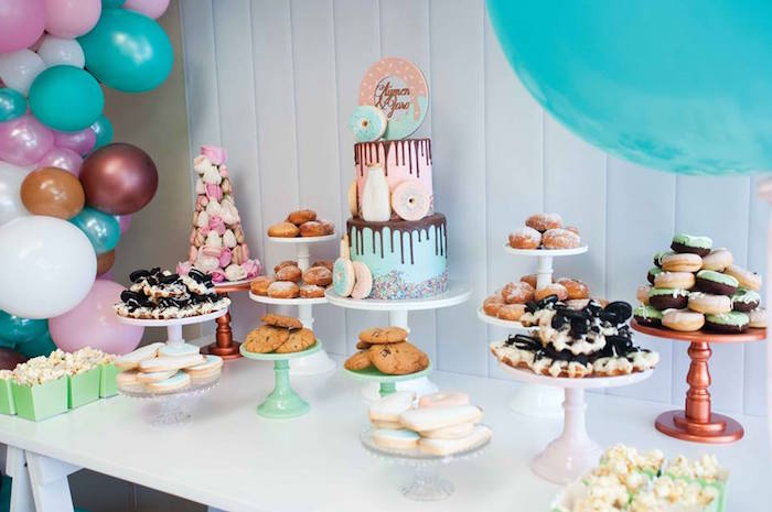 Sweet tablescape from a Donuts, Milk, & Cookies Birthday Party on Kara's Party Ideas | KarasPartyIdeas.com (10)