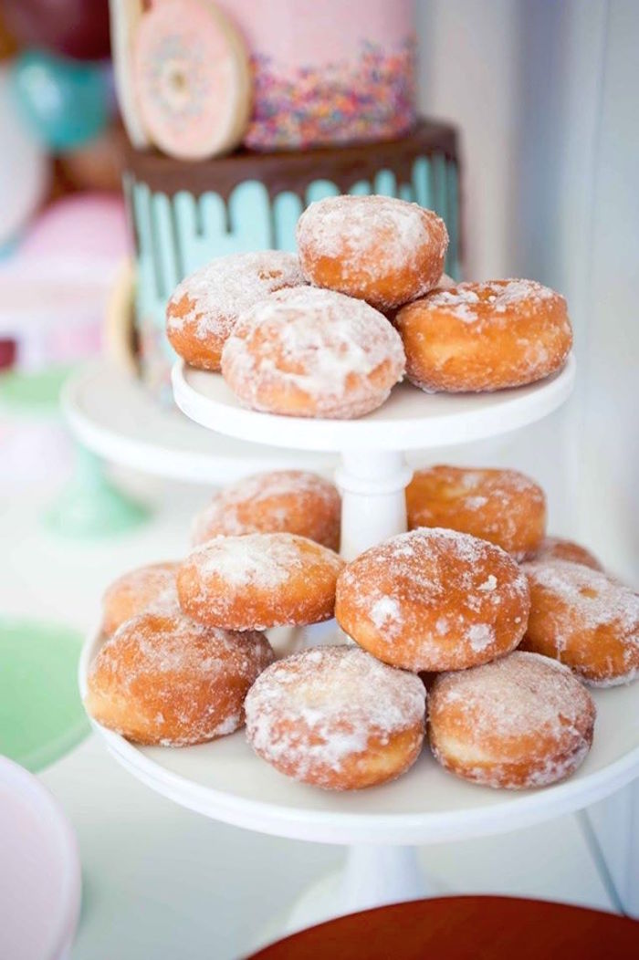 Sugar donuts from a Donuts, Milk, & Cookies Birthday Party on Kara's Party Ideas | KarasPartyIdeas.com (9)