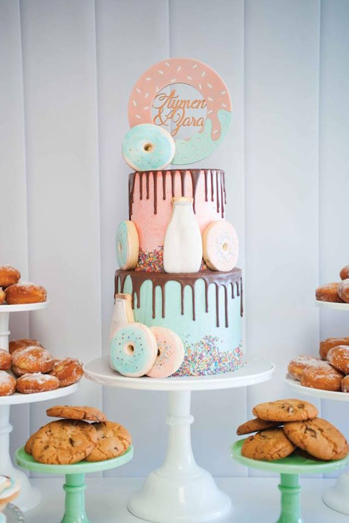 Drip cake from a Donuts, Milk, & Cookies Birthday Party on Kara's Party Ideas | KarasPartyIdeas.com (2)