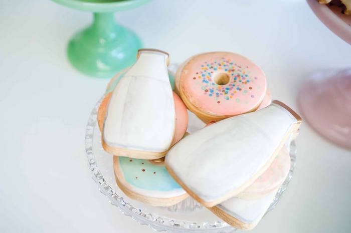 Donuts and milk bottle cookies from a Donuts, Milk, & Cookies Birthday Party on Kara's Party Ideas | KarasPartyIdeas.com (24)