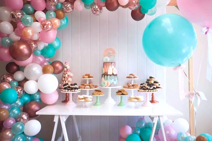 Full dessert table from a Donuts, Milk, & Cookies Birthday Party on Kara's Party Ideas | KarasPartyIdeas.com (17)