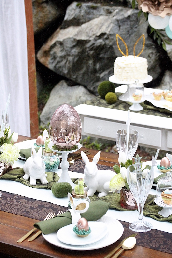 Guest table from an Easter Garden Brunch on Kara's Party Ideas | KarasPartyIdeas.com (19)