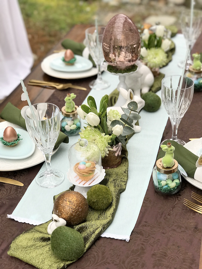 Dining table centerpieces + decor from an Easter Garden Brunch on Kara's Party Ideas | KarasPartyIdeas.com (12)