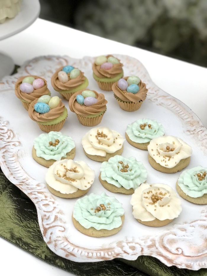 Cookies and cupcakes from an Easter Garden Brunch on Kara's Party Ideas   KarasPartyIdeas.com (6)
