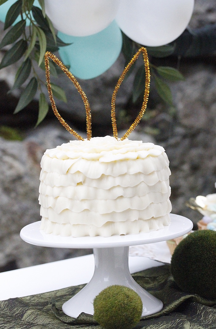 Bunny-eared ruffle cake from an Easter Garden Brunch on Kara's Party Ideas   KarasPartyIdeas.com (31)