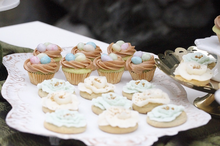 Bird nest cupcakes and flower cookies from an Easter Garden Brunch on Kara's Party Ideas | KarasPartyIdeas.com (28)