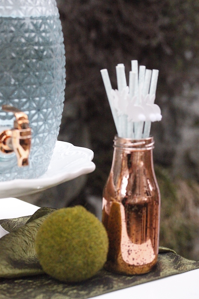 Copper bottle filled with straws from an Easter Garden Brunch on Kara's Party Ideas | KarasPartyIdeas.com (27)