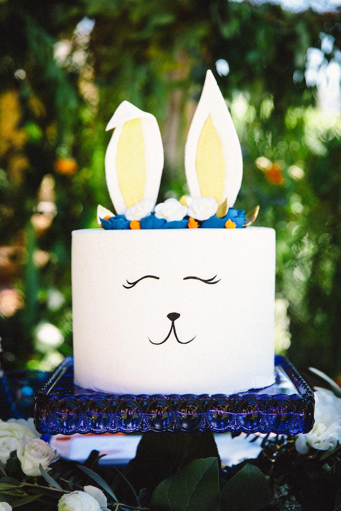 Bunny Rabbit Cake from an Easter Garden EGGstravaganza on Kara's Party Ideas | KarasPartyIdeas.com (13)