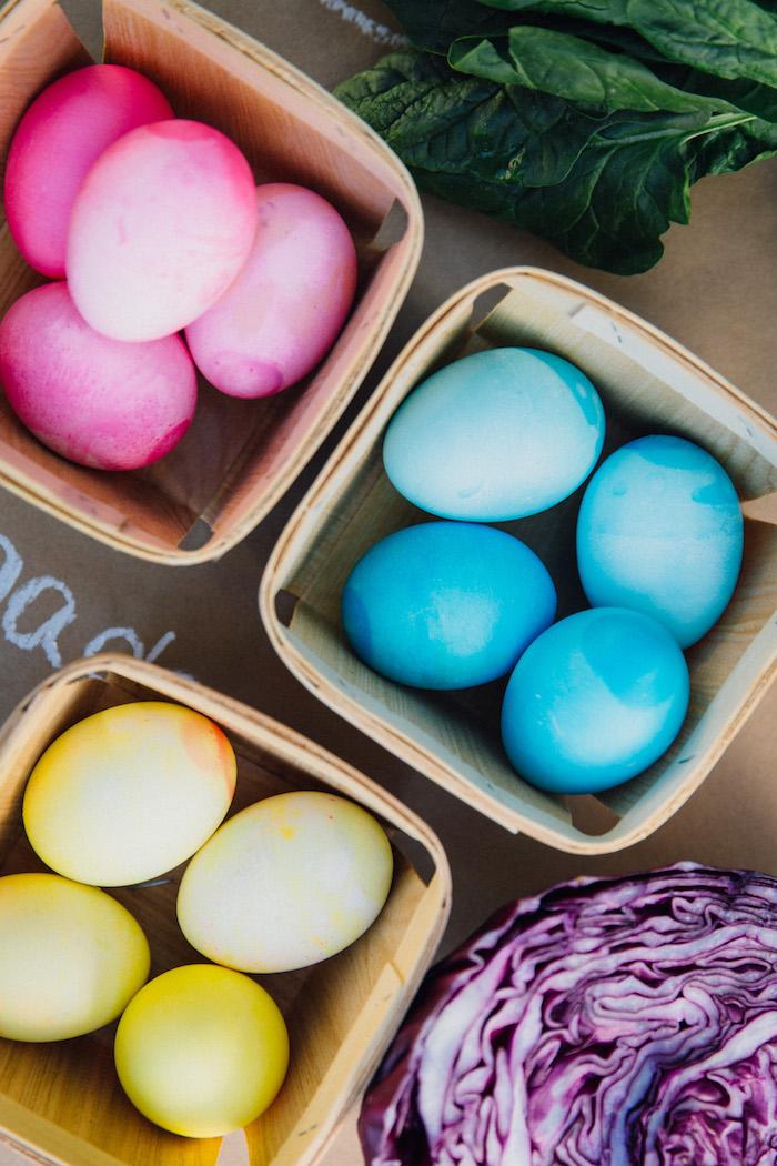 Dyed eggs in baskets from an Easter Garden EGGstravaganza on Kara's Party Ideas | KarasPartyIdeas.com (28)