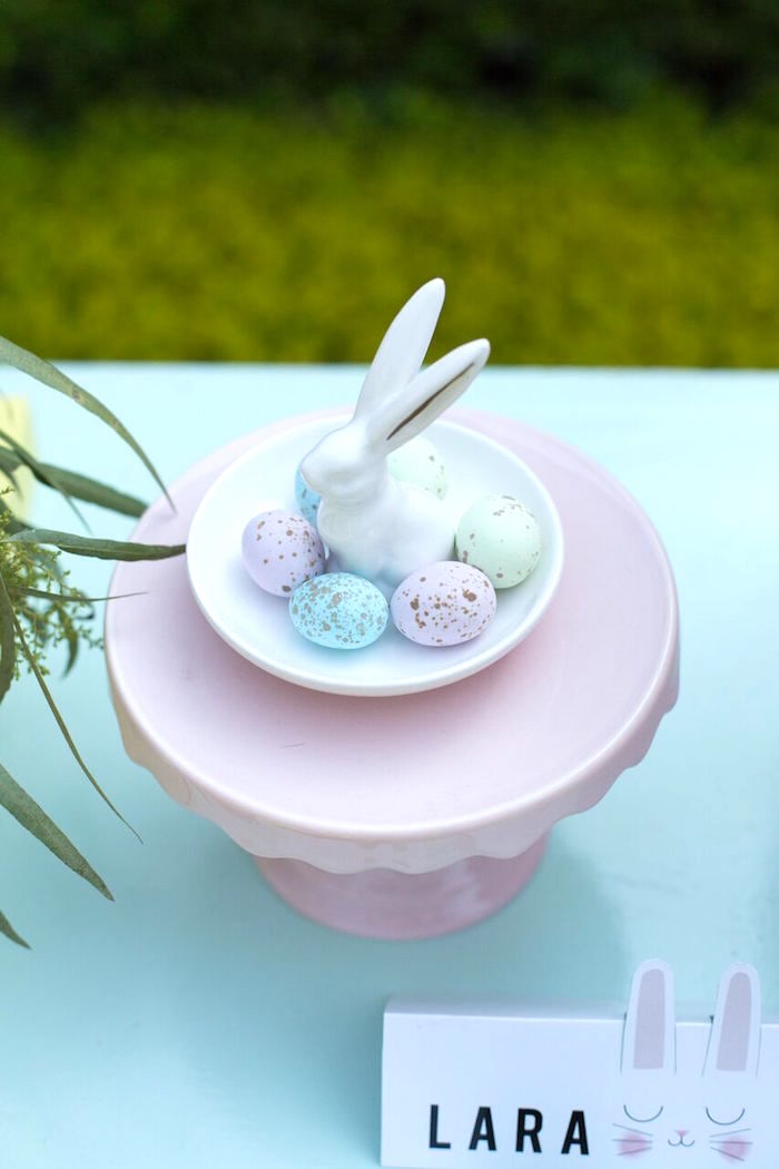 Ceramic bunny dish from an Easter Garden Party on Kara's Party Ideas | KarasPartyIdeas.com (29)