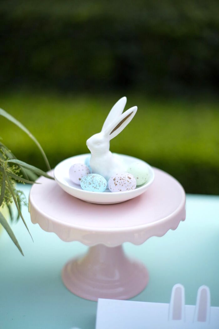 Speckled eggs in a ceramic bunny dish from an Easter Garden Party on Kara's Party Ideas | KarasPartyIdeas.com (28)