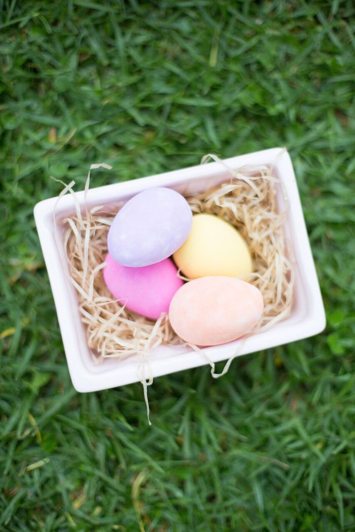Colored egg basket from an Easter Garden Party on Kara's Party Ideas | KarasPartyIdeas.com (27)