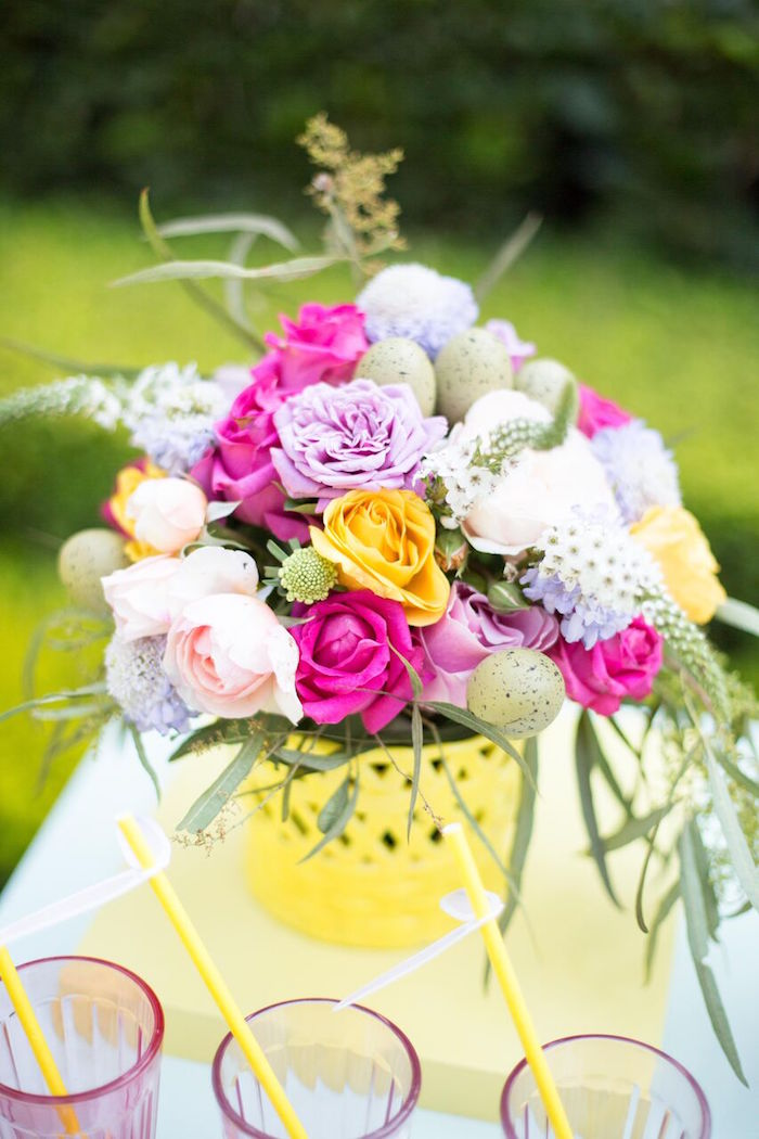 Beautiful spring floral centerpiece from an Easter Garden Party on Kara's Party Ideas | KarasPartyIdeas.com (26)