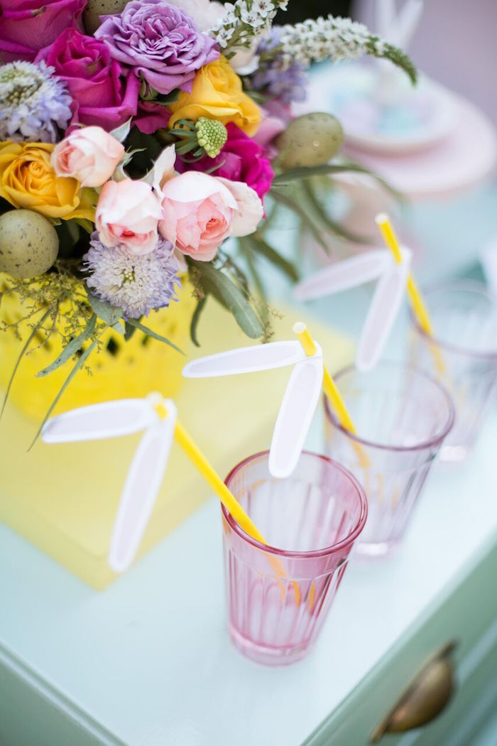 Bunny-eared straws from an Easter Garden Party on Kara's Party Ideas | KarasPartyIdeas.com (25)