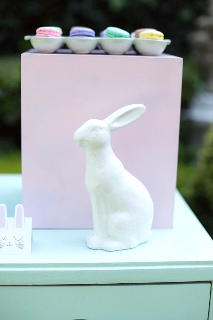 Ceramic bunny from an Easter Garden Party on Kara's Party Ideas | KarasPartyIdeas.com (23)