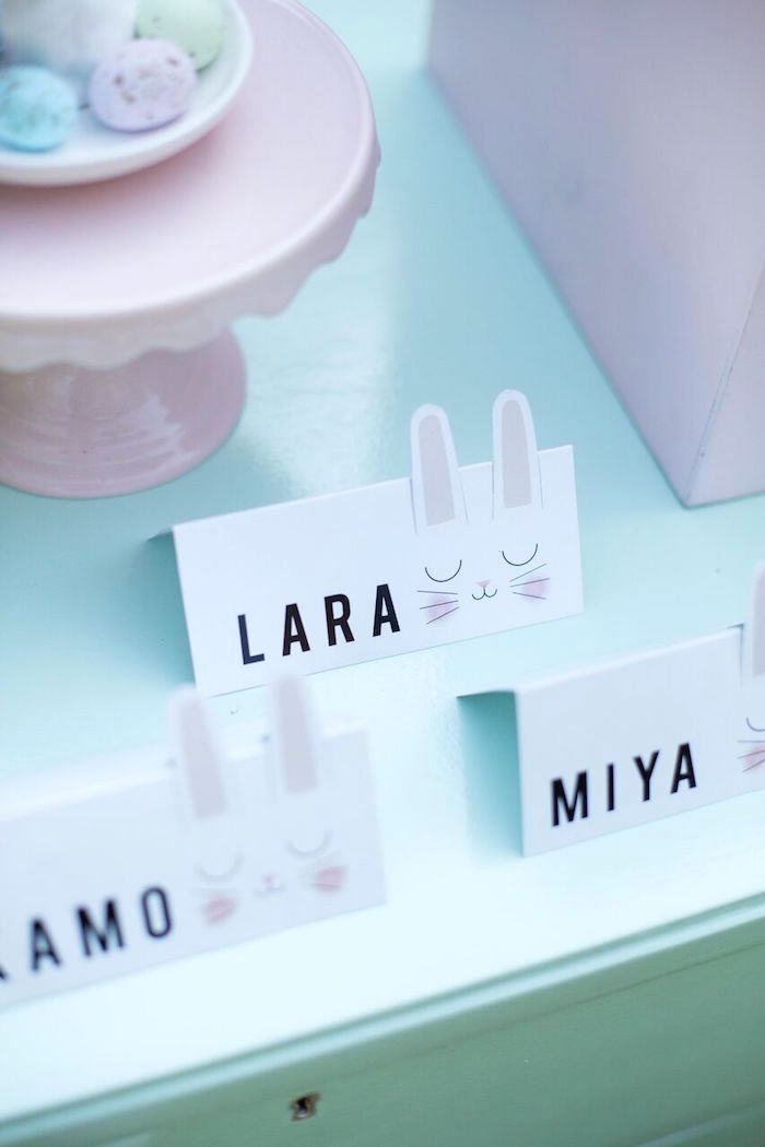 Bunny place cards from an Easter Garden Party on Kara's Party Ideas | KarasPartyIdeas.com (22)