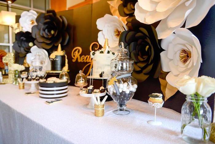 Kara S Party Ideas Elegant Black And Gold Unicorn Party