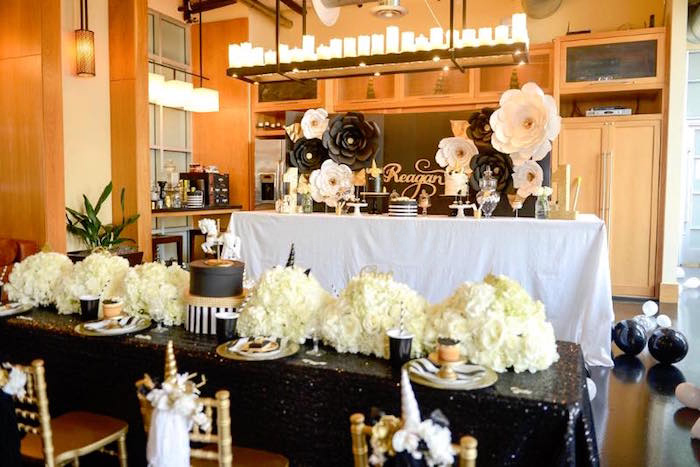 Party Tables From An Elegant Black And Gold Unicorn On Karas Ideas