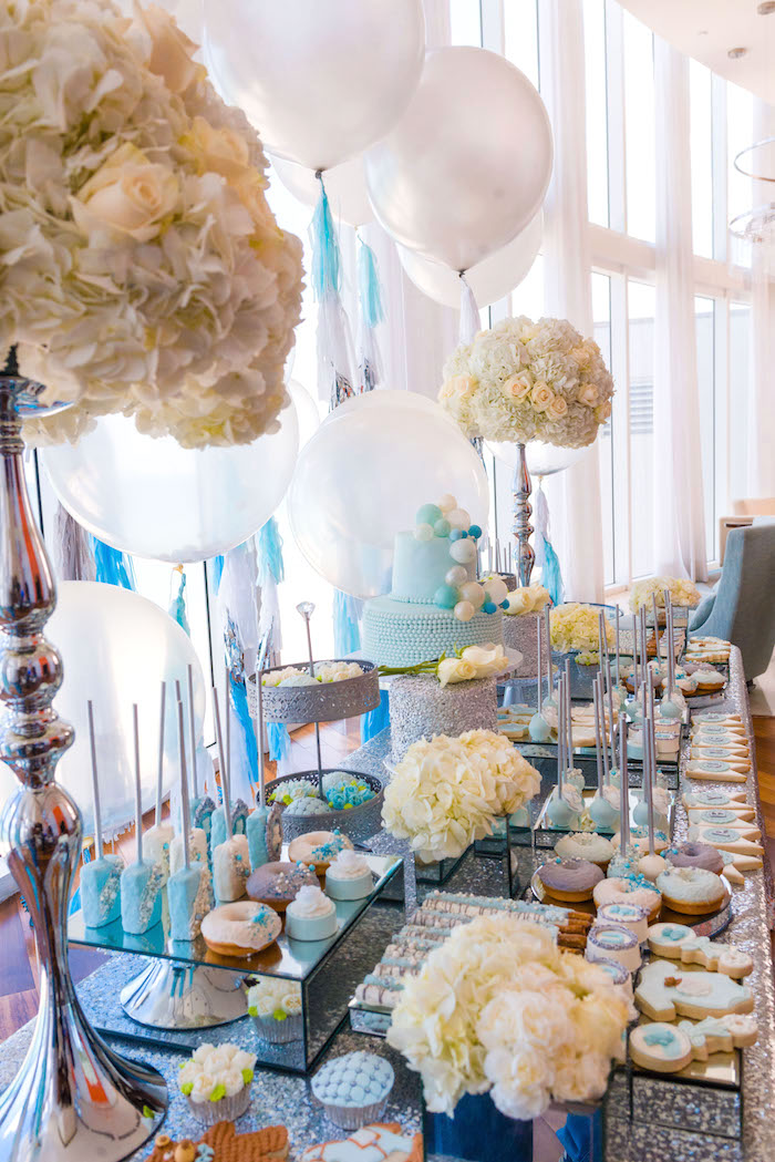 Side-view of a dessert table from an Elegant Brit Milah Baby Naming Ceremony on Kara's Party Ideas | KarasPartyIdeas.com (10)