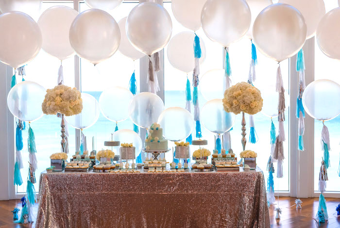 Dessert table from an Elegant Brit Milah Baby Naming Ceremony on Kara's Party Ideas | KarasPartyIdeas.com (7)