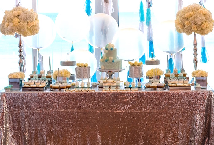 Dessert table from an Elegant Brit Milah Baby Naming Ceremony on Kara's Party Ideas | KarasPartyIdeas.com (6)