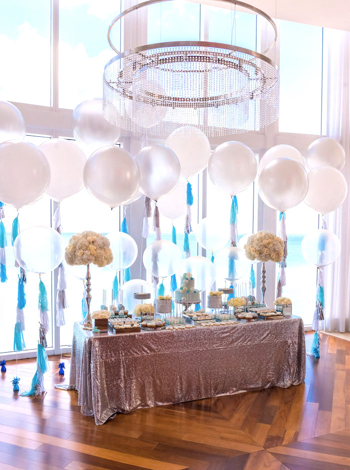 Dessert table surrounded by balloons from an Elegant Brit Milah Baby Naming Ceremony on Kara's Party Ideas | KarasPartyIdeas.com (5)