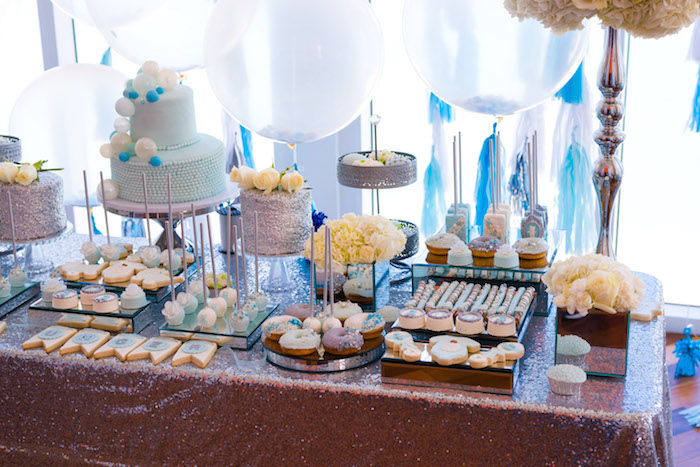 Sweet table from an Elegant Brit Milah Baby Naming Ceremony on Kara's Party Ideas | KarasPartyIdeas.com (19)