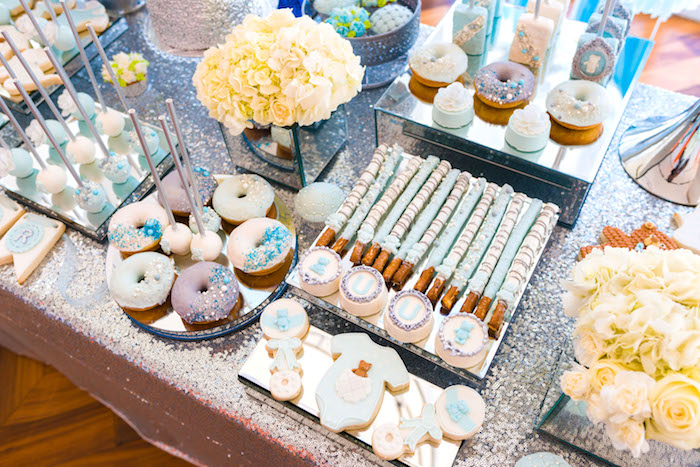 Dessert buffet + sweet tabletop from an Elegant Brit Milah Baby Naming Ceremony on Kara's Party Ideas | KarasPartyIdeas.com (18)