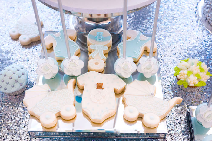Cookies and cake pops from an Baby themed sweets from an Elegant Brit Milah Baby Naming Ceremony on Kara's Party Ideas | KarasPartyIdeas.com (14)